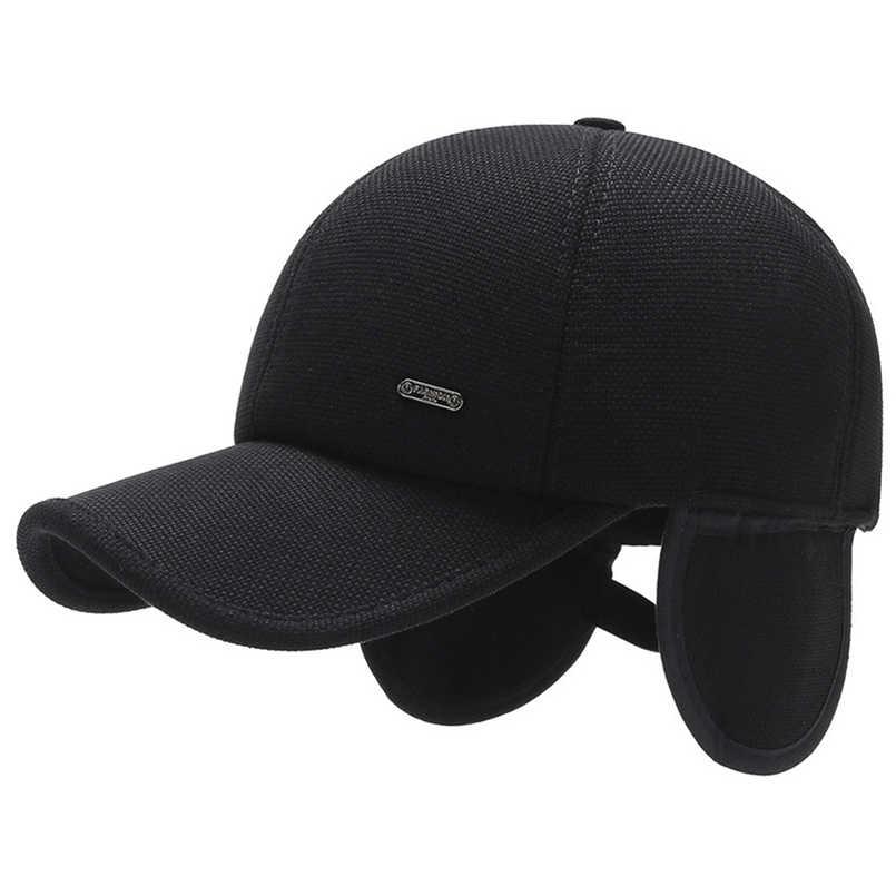 Musim Dingin Topi Bisbol Topi Hitam Tebal Musim Dingin Topi Merasa Snapback Navy Blue Men Ayah Topi Kasual untuk Pria bisbol Topi Topi