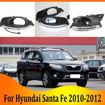 2pcs For Hyundai Santa Fe 2010-2012 6000K White Light LED Daytime Driving Running Light DRL Car Fog Lamp