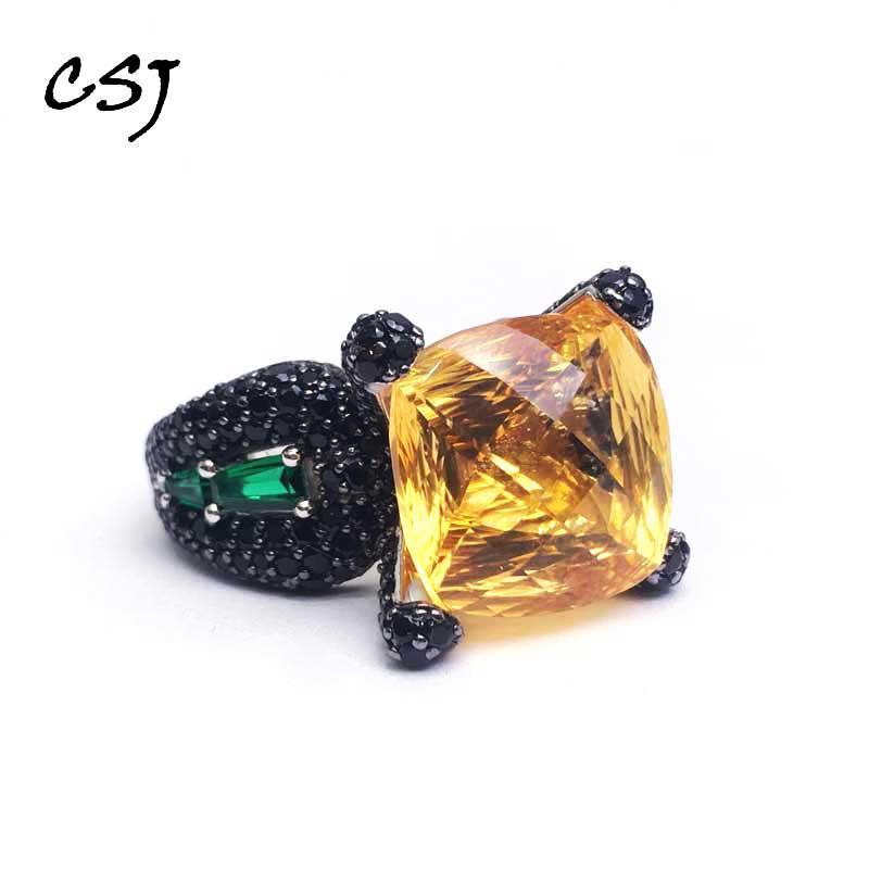 CSJ naturel Citrine anneau solide 925 en argent Sterling Birdnest coupe pierres précieuses souper bijoux fins pour les femmes et l'homme fête boîte-cadeau