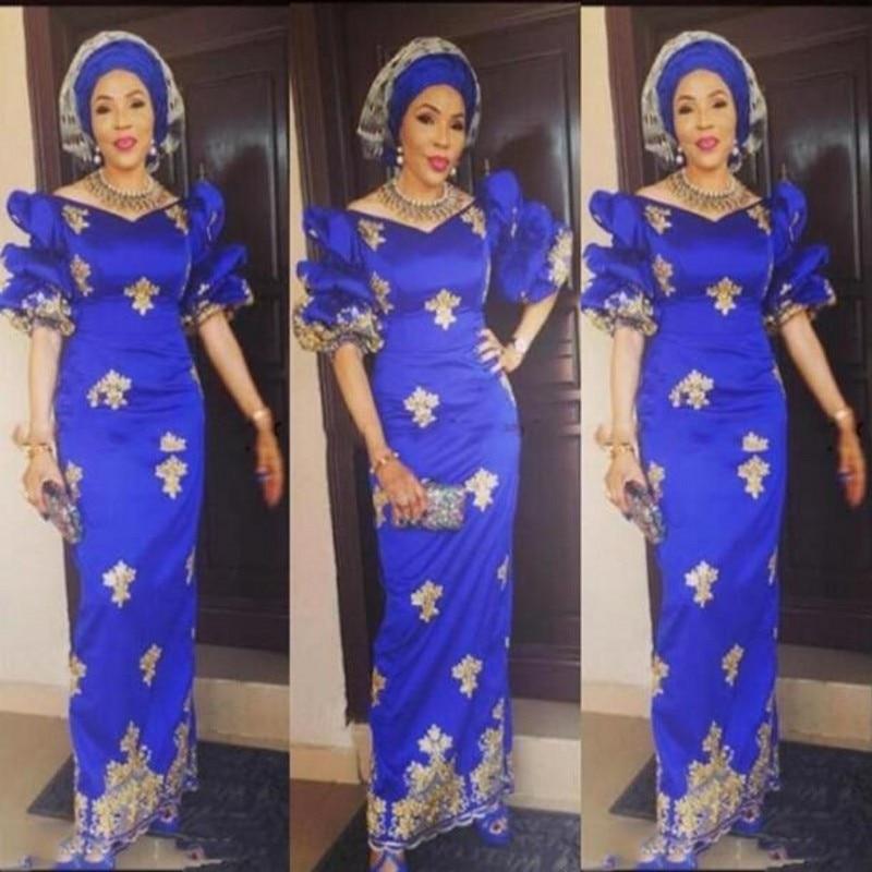 Evening Dresses Nigerian abiye abendkleider Gold Applique Evening Dress Royal Blue Formal Party Gowns vestido de festa longo