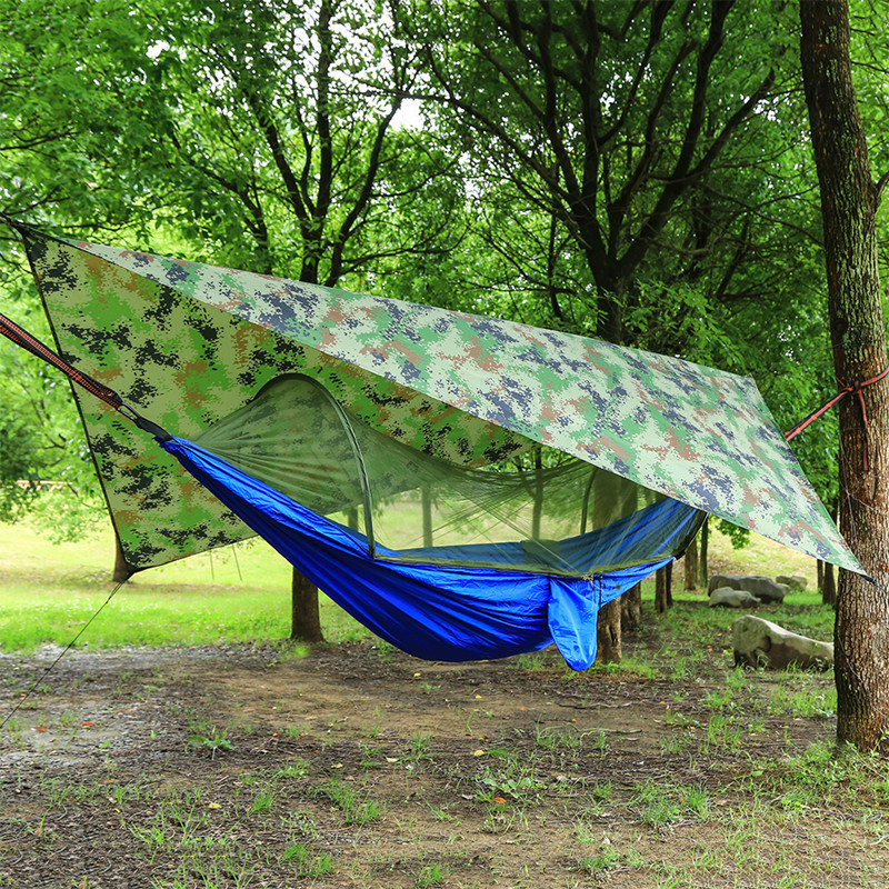 Automatic Unfolding Hammock Ultralight Parachute Hammock With Canopy Hunting Mosquito Net Double Lifting Outdoor Furniture