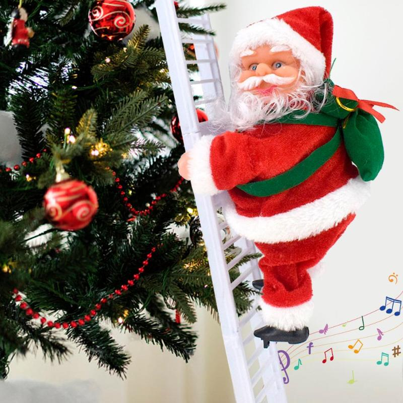 Lovely Music Christmas Santa Claus Electric Climb Ladder Hanging Toys Christmas Tree Funny Toys New Year Kids Gifts