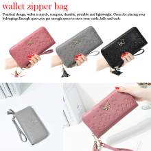 Lady Purses Handbag Tassel Zipper Women Wallets Clutch Coin Purse Cards ID Holder Long Woman Wallet Butterfly Money Bags Pocket цена в Москве и Питере