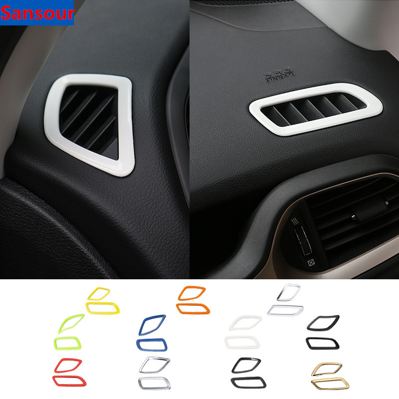 Sansour ABS Interior Dashboard Air Condition Vent Outlet Decoration Cover Stickers For Jeep Renegade 2015-2019 Car Styling