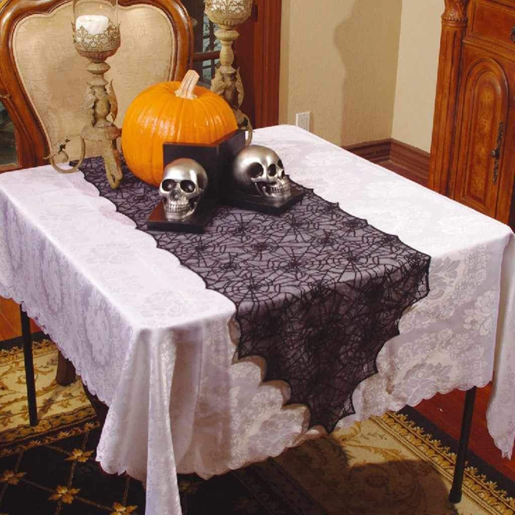 Halloween Spider Web Tablecloth Party Decorations Lace Table Black Flag Spider Web New Tablecloth manteleria moderna casa