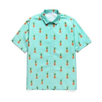2020 Holiday Hawaiian shirt Men New Fashion Casual Beach Seaside Summer Shirts For Men Fruit Pineapple Print Blouse Top Clothes 1