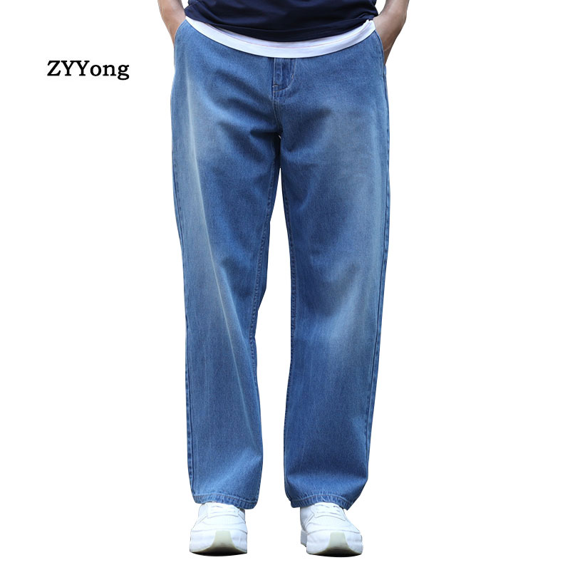 Summer Thin Section Breathable Men Jeans Blue Large Size Loose Baggy Hip Hop Skateboard Trousers Straight Wide Leg  Denim Pants