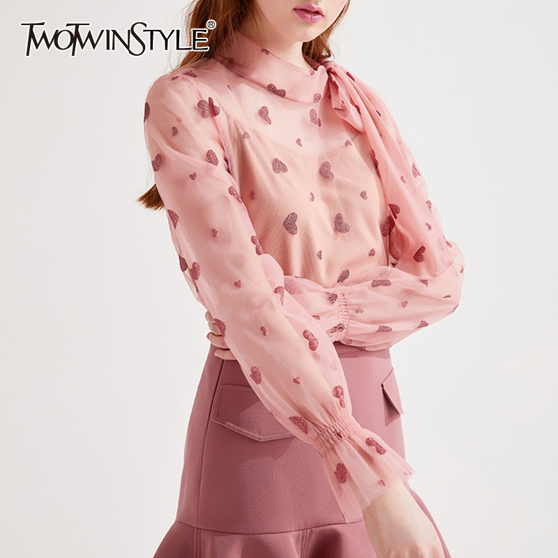 TWOTWINSTYLE Sweet Style Appliques Heart Shirt Female Bow Collar Flare Long Sleeve Hollow Out Ruched Blouse Female Fashion Tide