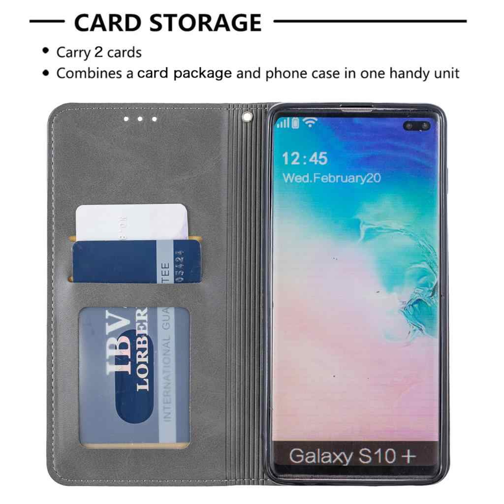 S10 + Fundas Retro de cuero para estojo Samsung S10 Plus, bolsa para sFor Cove Samsung Galaxy, funda para teléfono S10 Plus, bolsa de cuero PU para teléfono