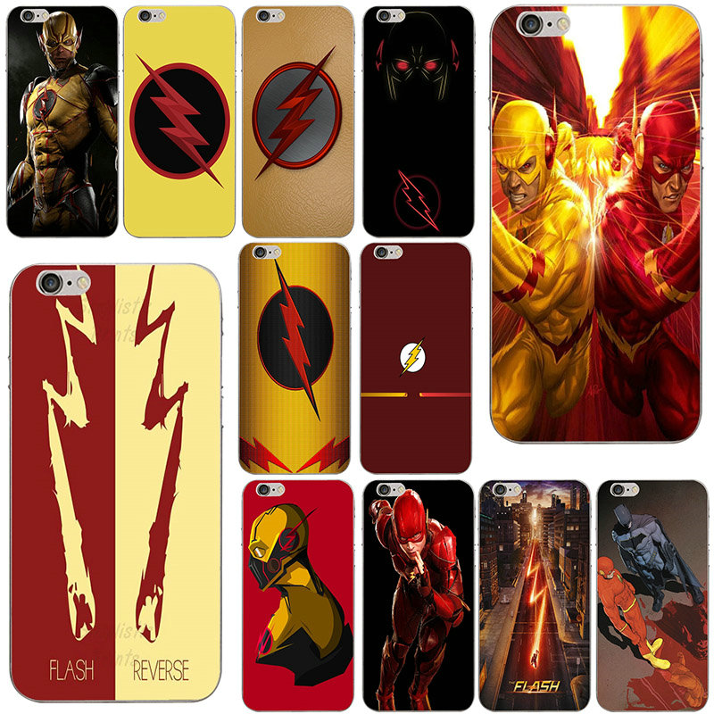 Reverse Flash Soft Transparent TPU Mobile Phone Cases Accessories Cover for iPhone 4 4S 5 5S 5C SE 6 6S 7 8 Plus X Coque Shell