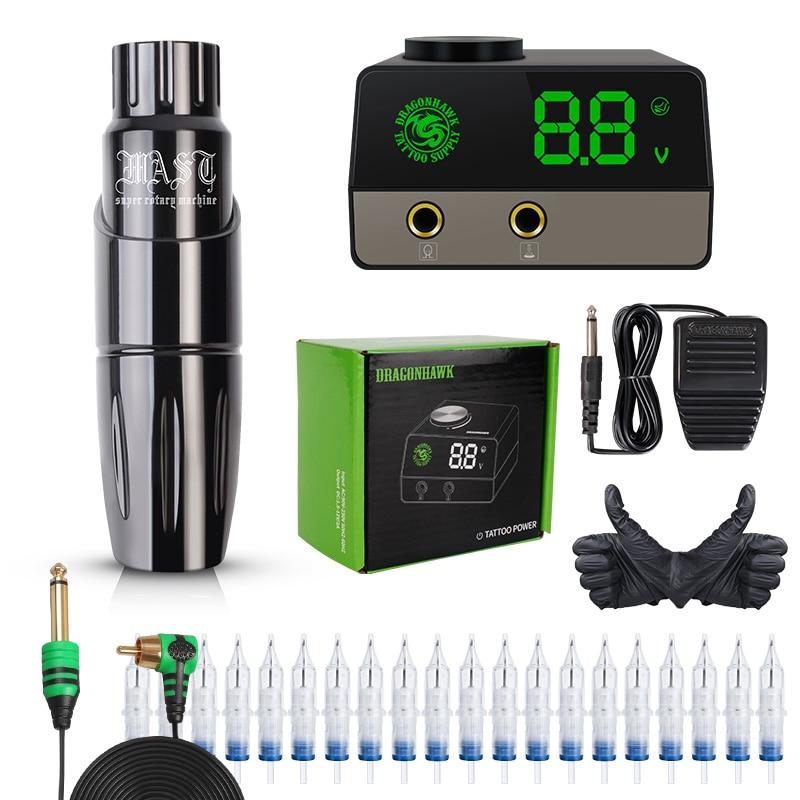 Dragonhawk Mast Tattoo Pen Machine Set Kit Motor Rotary Pen Permanent Makeup Needles Set LCD Power Supply