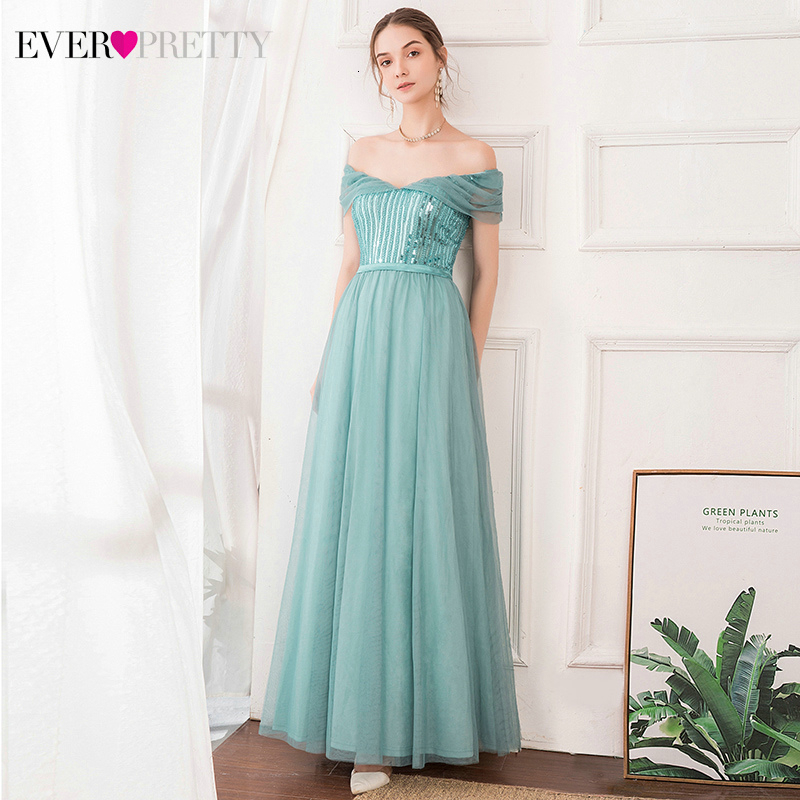 Elegant Evening Dresses Long Ever Pretty A-Line Off The Shoulder Sequined Tulle Short Sleeve Sparkle Party Gowns Abendkleider
