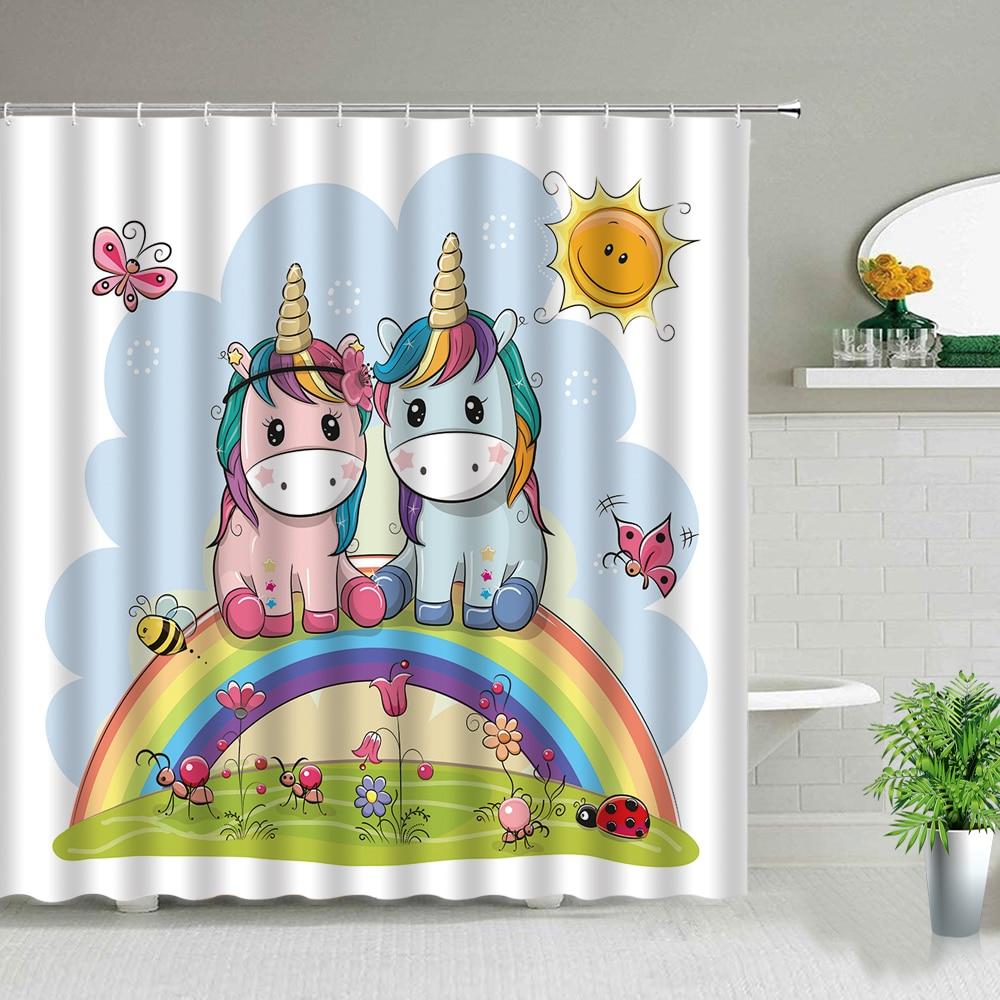 Занавески для душа с милым единорогом, декоративные водонепроницаемые шторы для ванной из полиэстера с мультяшными радужными бабочками дл...