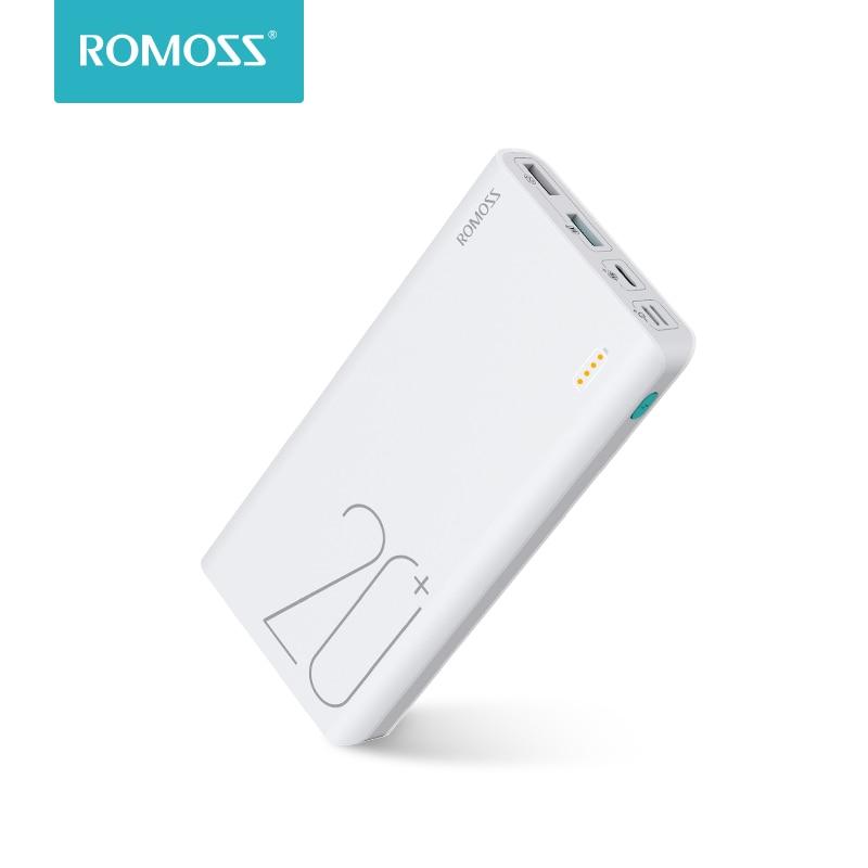 20000 10400mah Romoss センス 6 + 電源銀行と QC3.0 双方向高速充電のための外部バッテリーポータブル充電電話タブレット