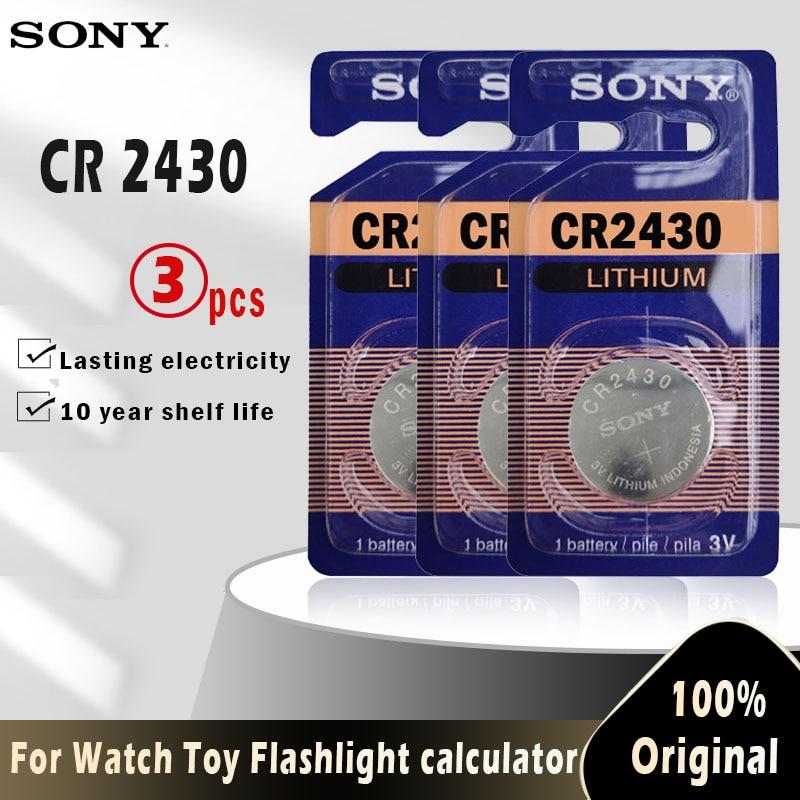 3 pces original sony cr2430 cr 2430 botão moeda baterias dl2430 br2430 kl2430 3 v bateria de lítio para assistir brinquedo aparelhos auditivos|Bateria de célula de botão|   -