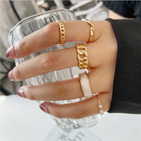 17KM-Conjunto de anillos de cadena de resina para mujer, de aleación de Metal dorado, mariposa, apertura anillo para dedo, regalos de boda