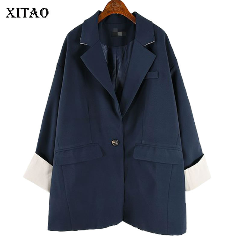 XITAO Single Button Blazer Women Fashion New 2019 Autumn Turn Down Collar Pocket Elegant Minority Casual Loose Coat  WLD2583