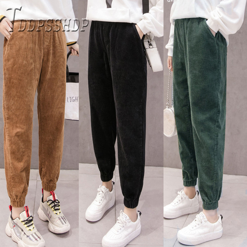 High Waist Loose Female Trousers Streetwear Corduroy Korean Women Pants