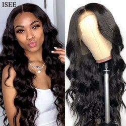 Парики для женщин 13х4 перуанские человеческие волосы парики 150% плотность волнистые волосы ISEE парики для человеческих волос