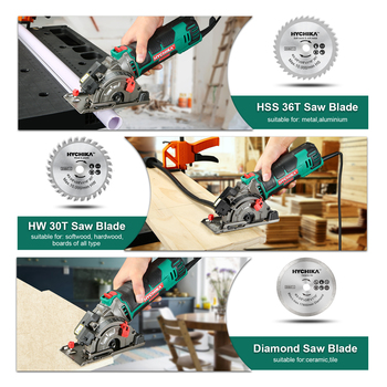 HYCHIKA 500W Electric Mini Circular Saw With Laser 120V 220V Multifunctional Electric Saw DIY Power Tool For Cut Wood,PVC tube 5