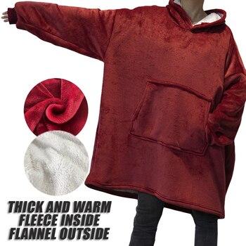 Sudaderas con capucha de lana de Invierno para mujer sofá cálido manta de televisión de gran tamaño con mangas bolsillo felpa Coral Sherpa gigante Sudadera con capucha Bata