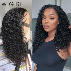 Wigirl Brazilian 13x4 Lace Front Human Hair Wigs Pre Plucked With Baby Hair Deep Wave 150% Short Water Curly Bob Wigs For Women
