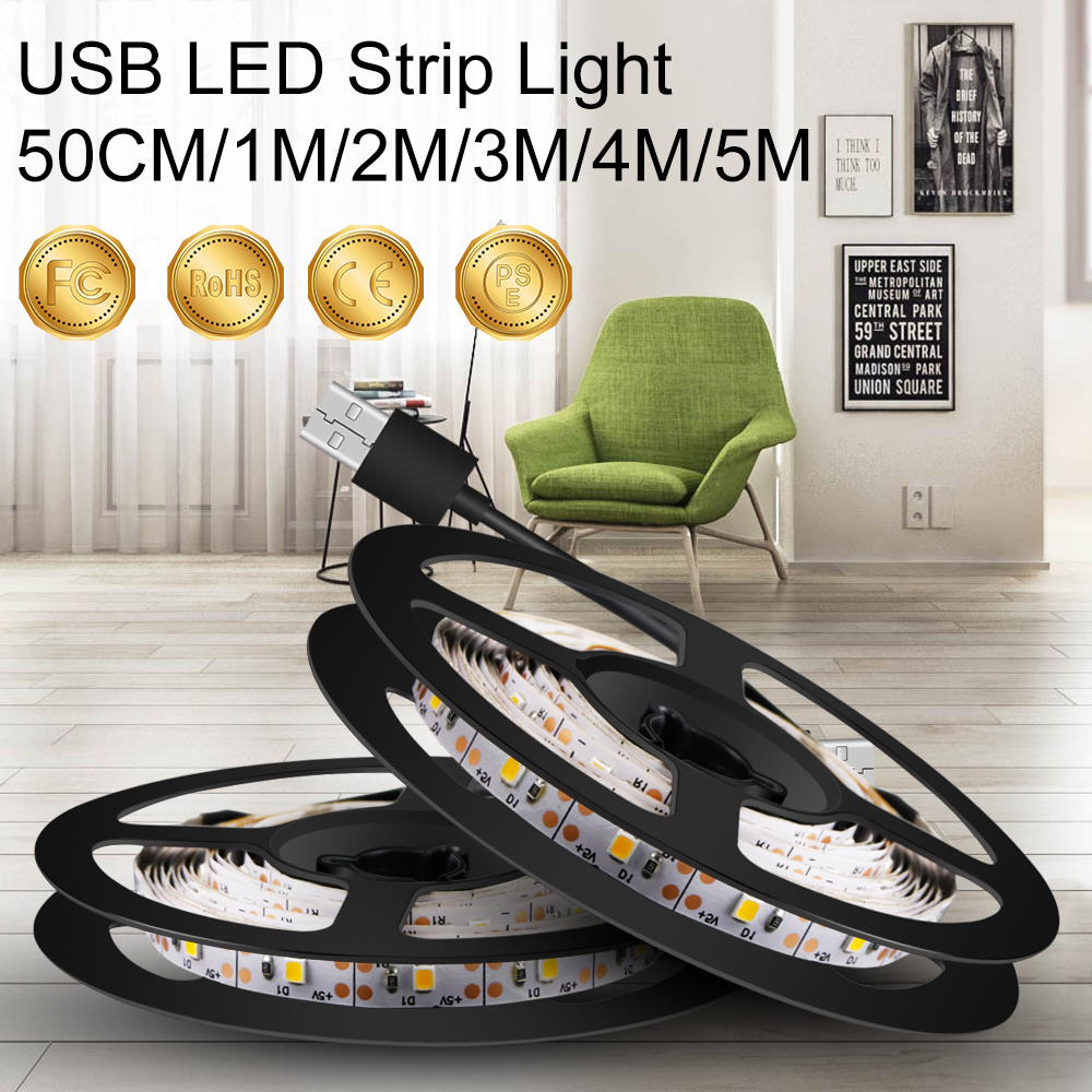 USB Strip Light DC 5V Ribbon LED Light Tape TV LED Strip Flexible Lamp 0.5m 1m 2m 3m 4m 5m Wireless LED Lamp Decoration Lighting