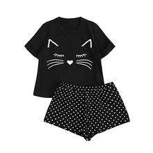Cute Pajama Set For Women Cartoon Tee Hot Shorts 2 Pcs PJ Round Neck Short Sleeve 2019 New Pyjamas Printing Sleepwear