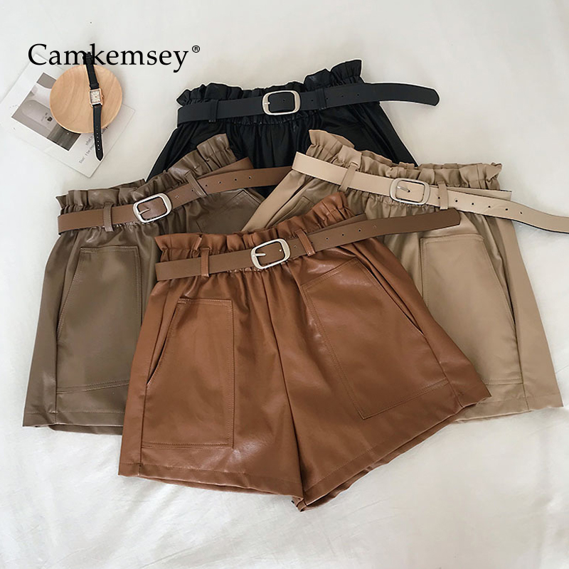 Korean Autumn Winter Solid PU Leather Shorts Women Big Pockets Casual Soft Leather Wide Leg High Waist Shorts With Sashes