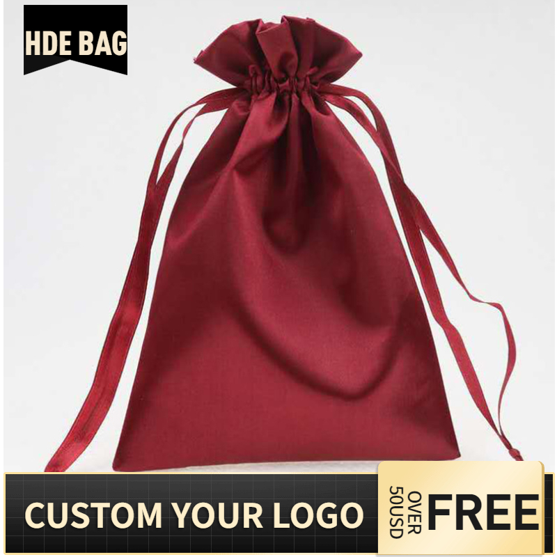 Custom Logo Glossy Satin Hair Extensions Drawstring Storage Packaging Bag