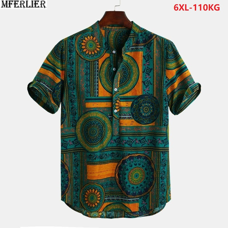 2020 new summer <font><b>men</b></font> beach <font><b>shirts</b></font> short sleeve folk-custom style plus size print flower <font><b>shirts</b></font> man 5XL <font><b>6XL</b></font> green <font><b>shirt</b></font> loose 50 image