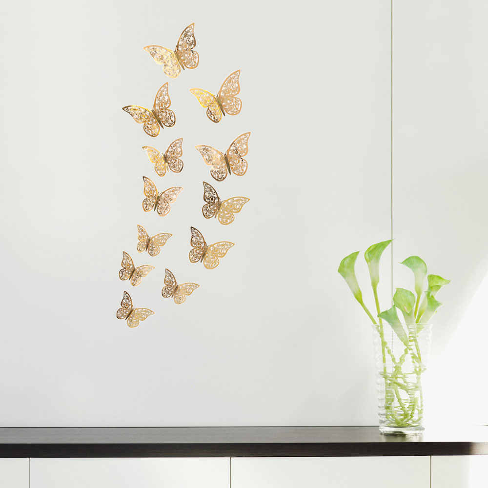 Autocollant Mural doré 3D ajouré 12 pièces/ensemble | Étiquette papillon, décoration murale, fête vacances Shopping, fenêtre de maison, pour chambre d'enfant, murale