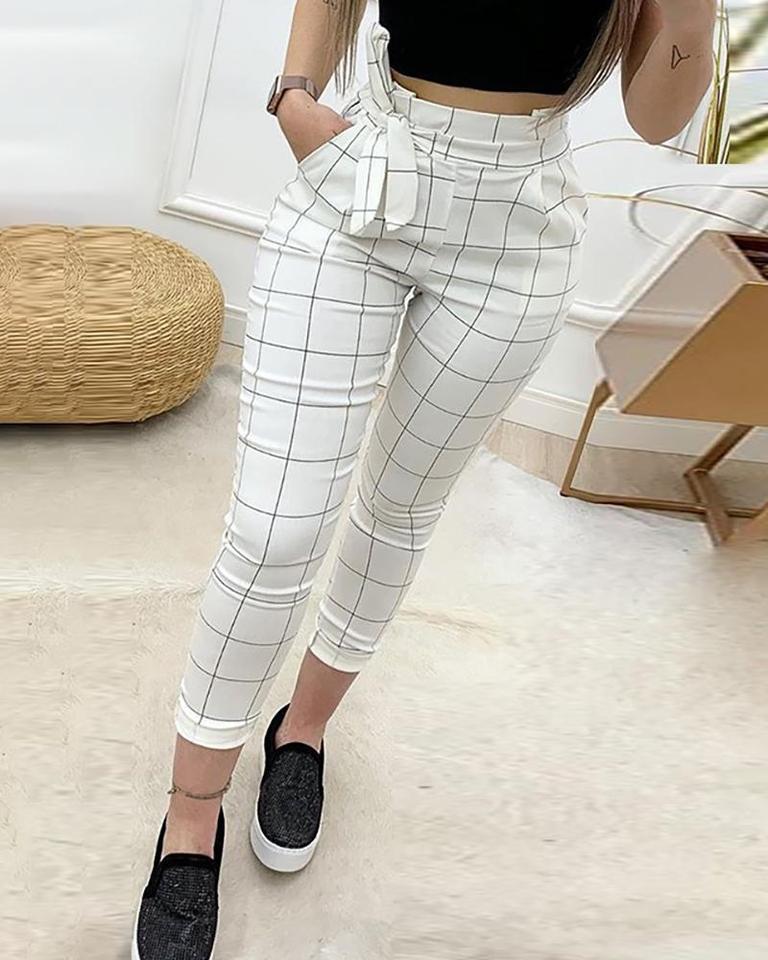 Pantalones Informales De Cintura Alta Con Cuadricula De Papel Para Mujer Pantalones Y Pantalones Capri Aliexpress