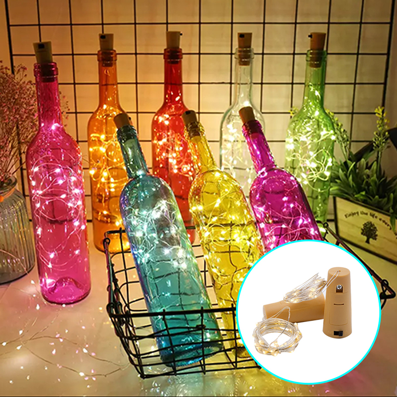 1M 2M Wine Bottle Lights with Cork LED Light String Garland on Batteries Decorative LED Lamp Copper Wire Fairy Light for Holiday