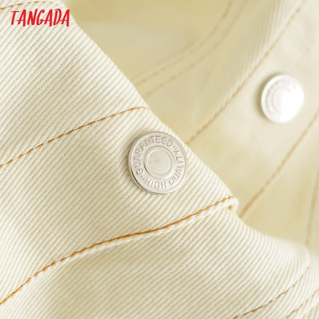 Tangada Women Solid Denim Short Dress Pocket Sleeveless 2021 Fashion Lady Elegant Dresses Vestido YI10 5