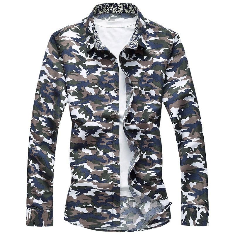 M-6XL Camo Hawaiian Shirt Men 2020 Spring Button Down Long Sleeve Casual Shirts Plus Size