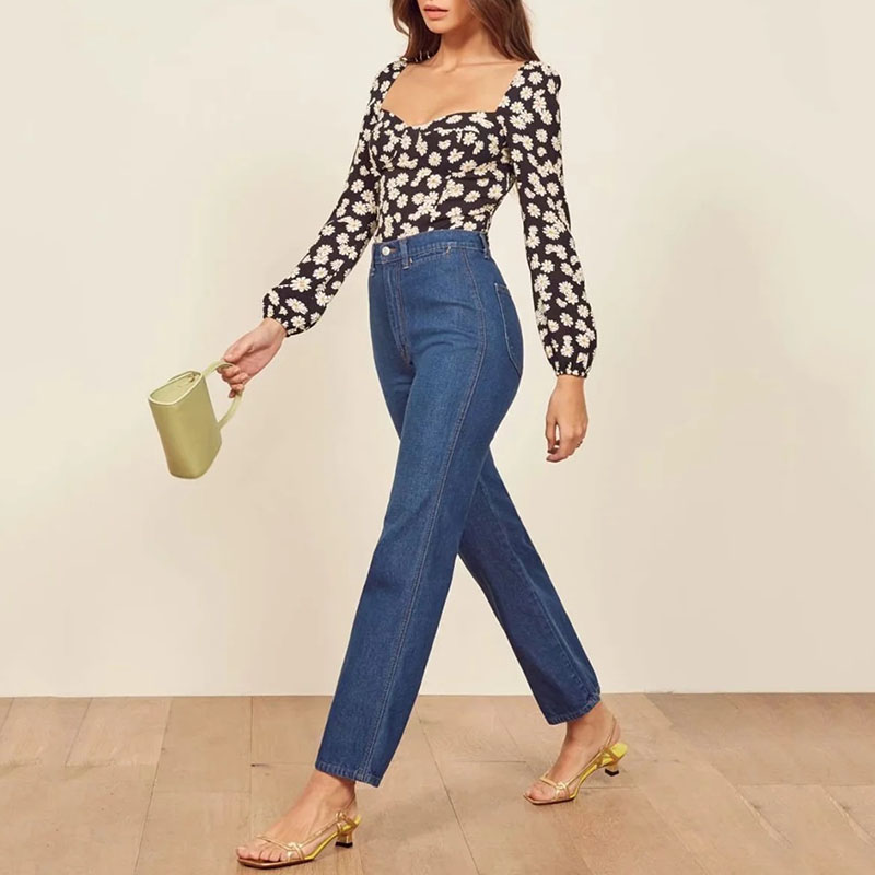 Casual Women Long Sleeve Elasticity Blouse Tops 2020 Elegant Floral Female Blouse Shirts Top Autumn New Sexy Paty Top Clothing