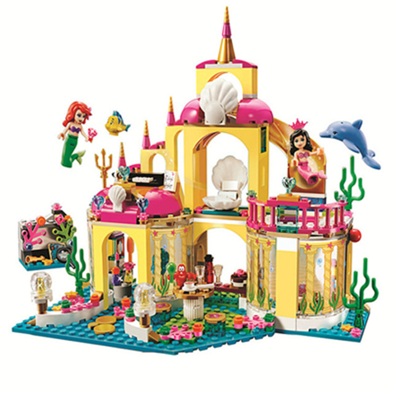 Princess Ariel Castle Bricks Underwater Palace Girl Building Blocks Birthday Present Toys Children Gifts Compatible Lepining