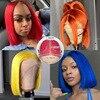 Парики с цветными кружевами BOB, предварительно выщипанные синие волосы BOB спереди, красный парик средней части, бразильские волосы Remy 13x1 T, парики с кружевом 180% BOB