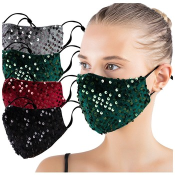 Fashion Bling Glitter Sequins Cotton Mask For Adult Party Anti Dust Face Masks Adjustable Washable Reusable Mouth Mask Máscara