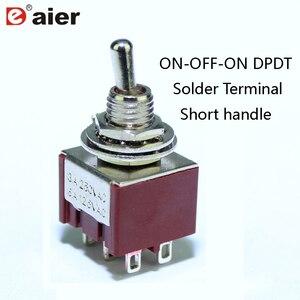 100 pces em fora em miniatura interruptor de alternância 6mm 6a 125vac 6 pinos dpdt m6x0.75 switches punho curto cor vermelha para pedal guitarra