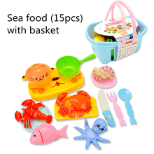 15PCS Childrens Cut Food Toys Set Simulation Mini Fruit&Vegetables&Seafood Models With Basket House Play Kitchen