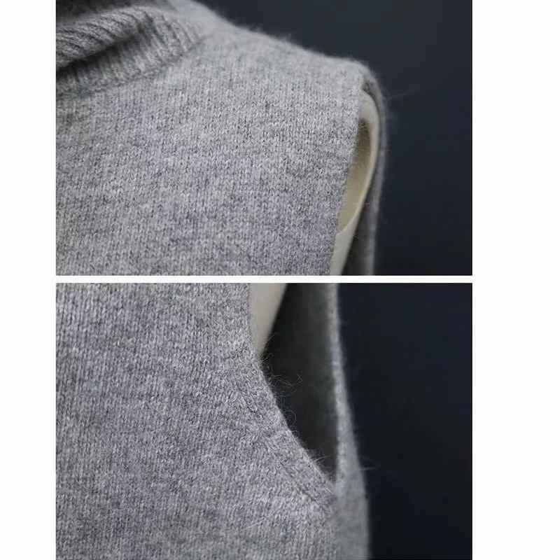 DSANNIGNT 2020 Thu Đông Cashmere Áo Vest Nữ Cổ Bẻ Áo Dệt Kim Áo Vest Nữ Cổ Cao In Plus Kích Thước