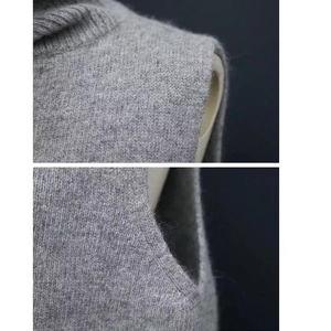Image 5 - Dsannignt 2020 Herfst Winter Kasjmier Vest Vrouwen Turn Down Kraag Mouwloze Gebreide Vest Vrouwelijke Hoge Kraag Vest Plus Size
