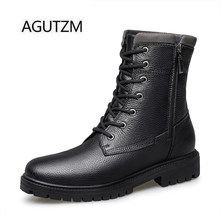 AGUTZM 8278 Mode Echt Leder heren Motorlaarzen Black Lace Up Met Rits Ontwerp Winter Warm Houden Man Laarzen(China)