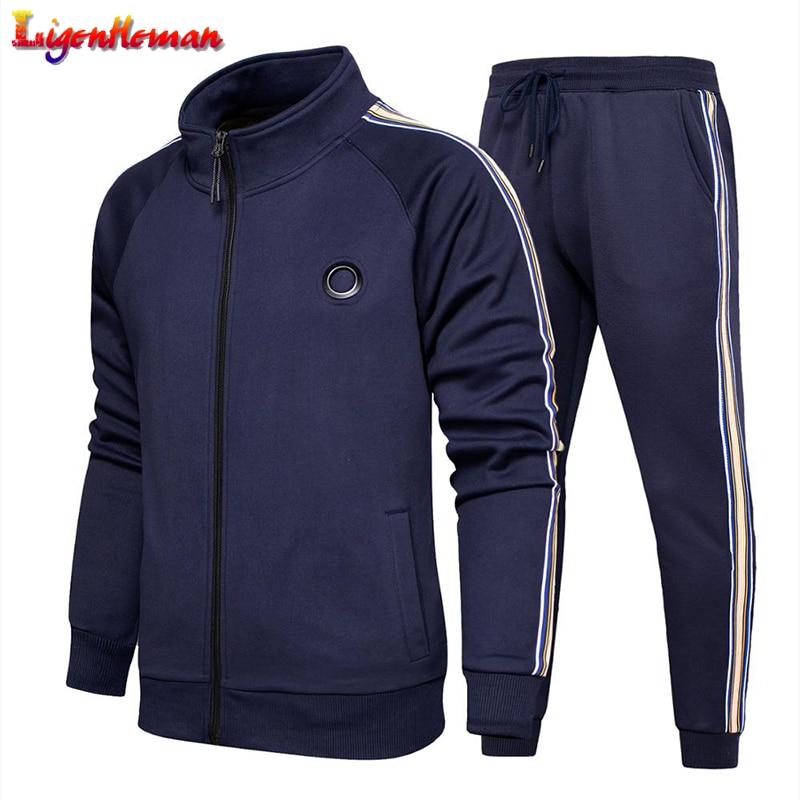 Autumn Winter Men New 2020 Gym Sports Suit Tracksuit Men 2 Pieces Sweatshirt+Pants Suit Fashion Hooded Sweatshirts Sportswear