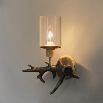 Nordic Antler Wall Lamp Modern Glass Wall Sconce Light Fixture Bedroom Bedside Lamp Resin Deer Wall Light for Home Deco Wandlamp