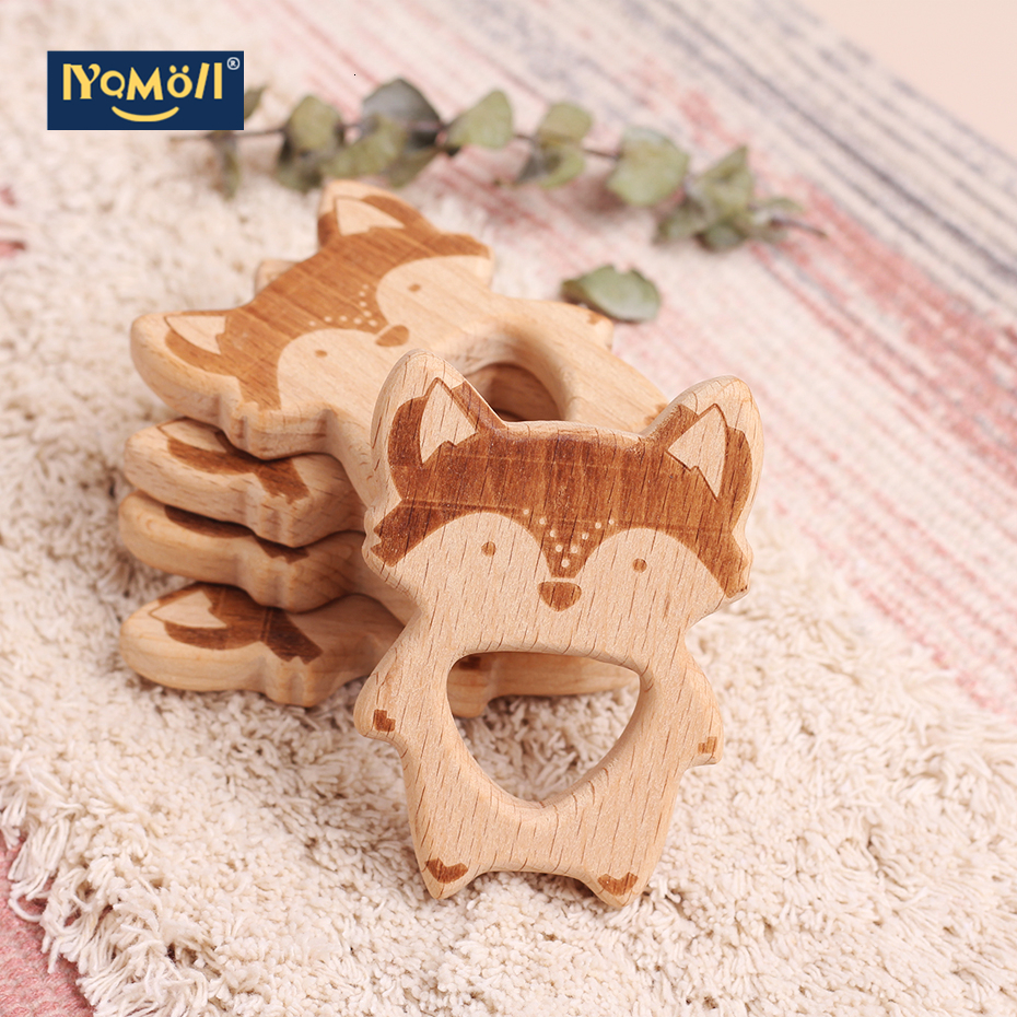 10pcs Fox Wooden Teether Nature Baby Rattle Teething Grasping Toy DIY Organic Eco-friendly Wood Teething Accessories