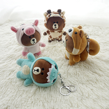 цена на 13cm super cute brown bear Cross-dressing plush key chain personality cartoon mobile phone bag car plush pendant plush doll FXM