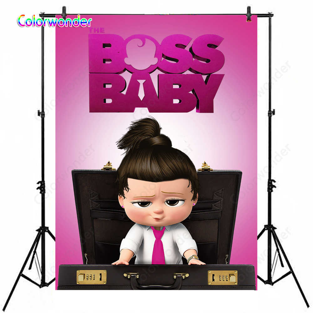 Baby Girl 1st Birthday Party Boss Baby Backdrop Little Girl With Watch Photo Background For Baby Shower Celebration Party Banner